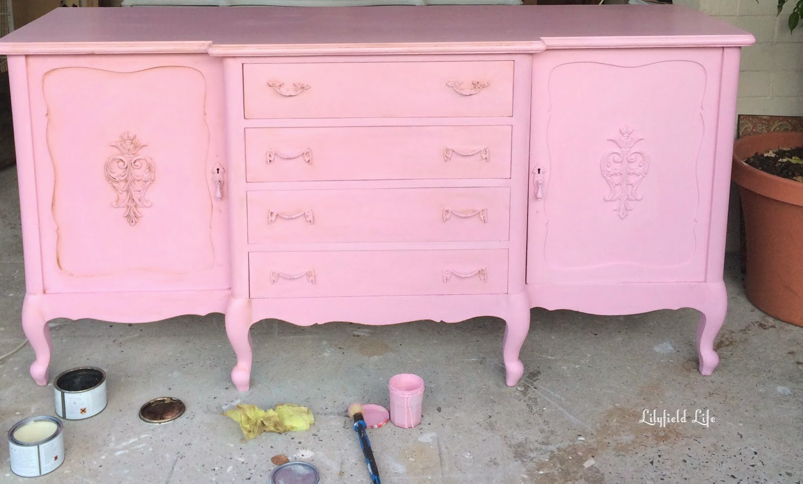 Vintage French Pink sideboard hand painted by Lilyfield life