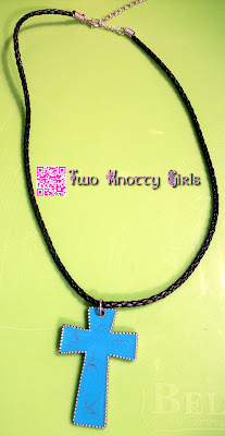 Handmade Necklace - Polished Turqouise Enamel Cross