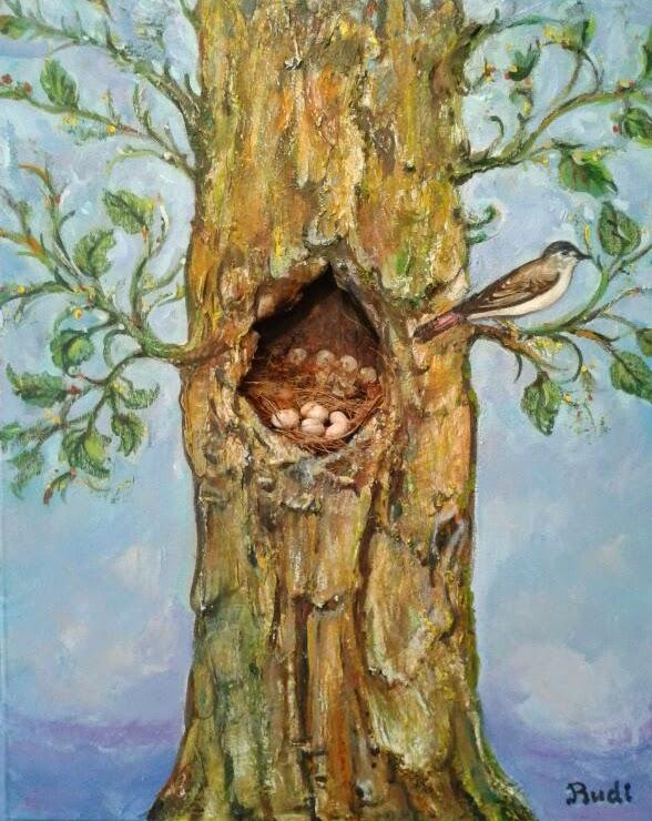 Cuadro al óleo de árbol con nido y pájaro, tonos azules, pintora Rudi.