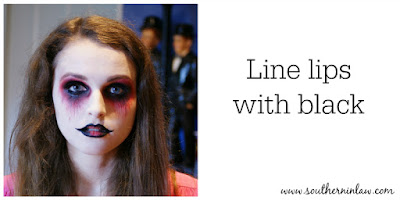 Line Lips with Black Eyeliner or Face Paint - Zombie Makeup Tutorial Halloween Face Painting