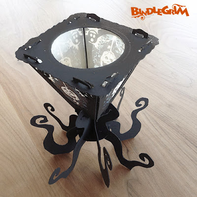 Vintage-style candle tealight lantern stands on eight octopus legs for Halloween decor 2014 sseason by Bindlegrim