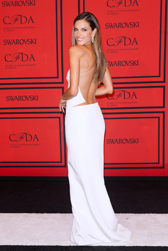 Alessandra Ambrosio at CFDA Fashion Awards 2013 red carpet in a backless top