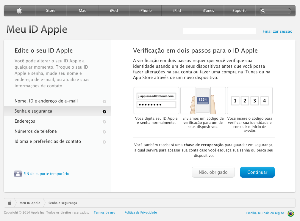 Verificação em dois passos para o ID Apple
