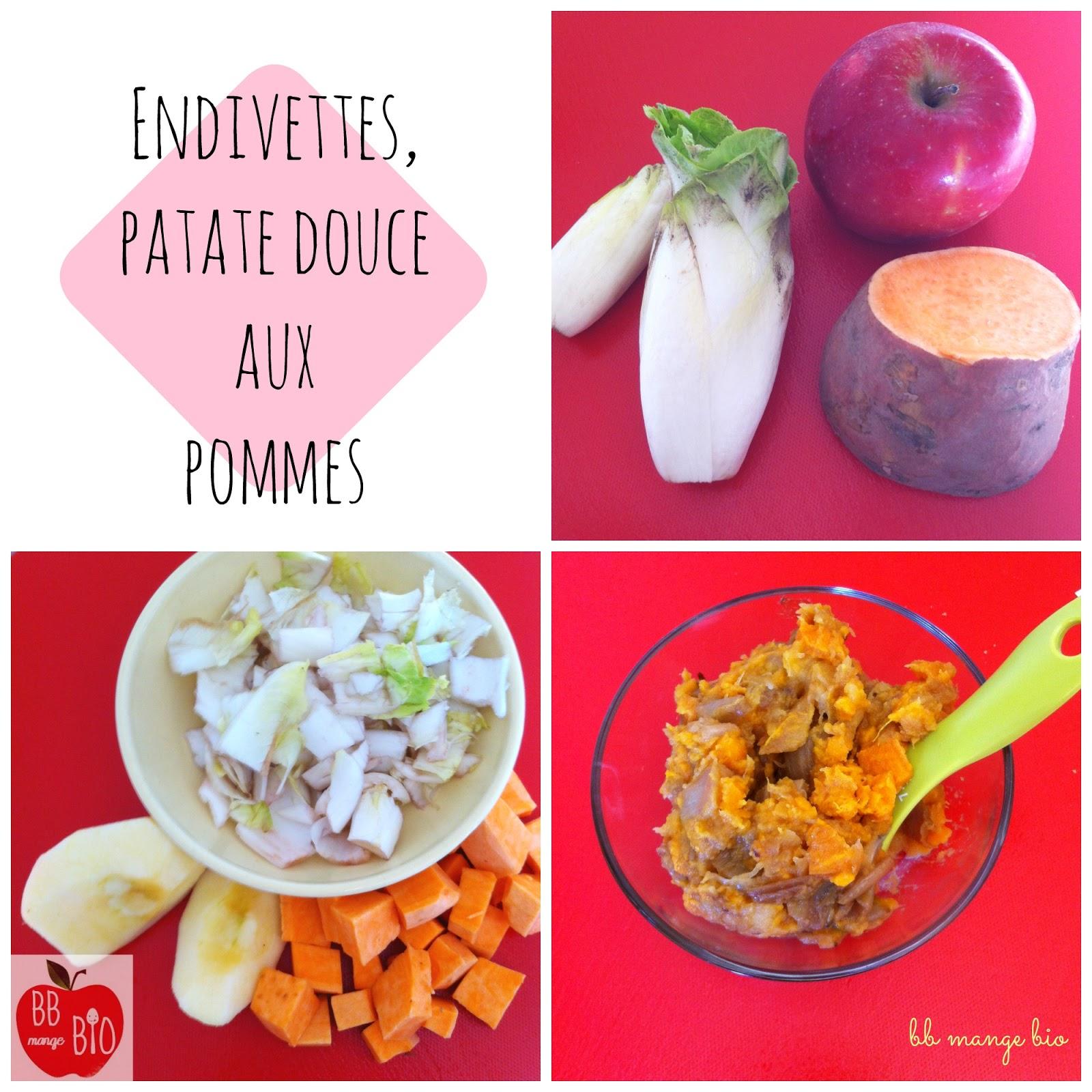 endives pour les bébés avec patate douce et pomme recette bio à partir de 6 mois