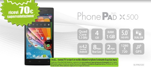 Mediacom supervaluta il vostro telefono usato di 70 euro se acquistare un PhonePad Duo X500