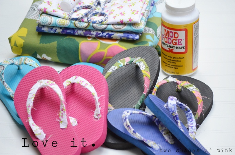 845737e7aa1481 Two Shades of Pink  Easy Fabric Flip Flops