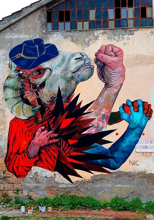 Arte urbano, ilustración y pintura de Nicola Alessandrini