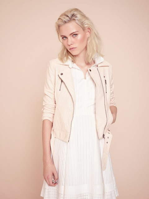 French Connection peach biker jacket