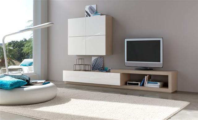Salón modular blanco y roble