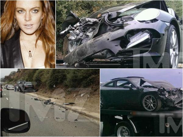 Lindsay Lohan acidente com Porsche