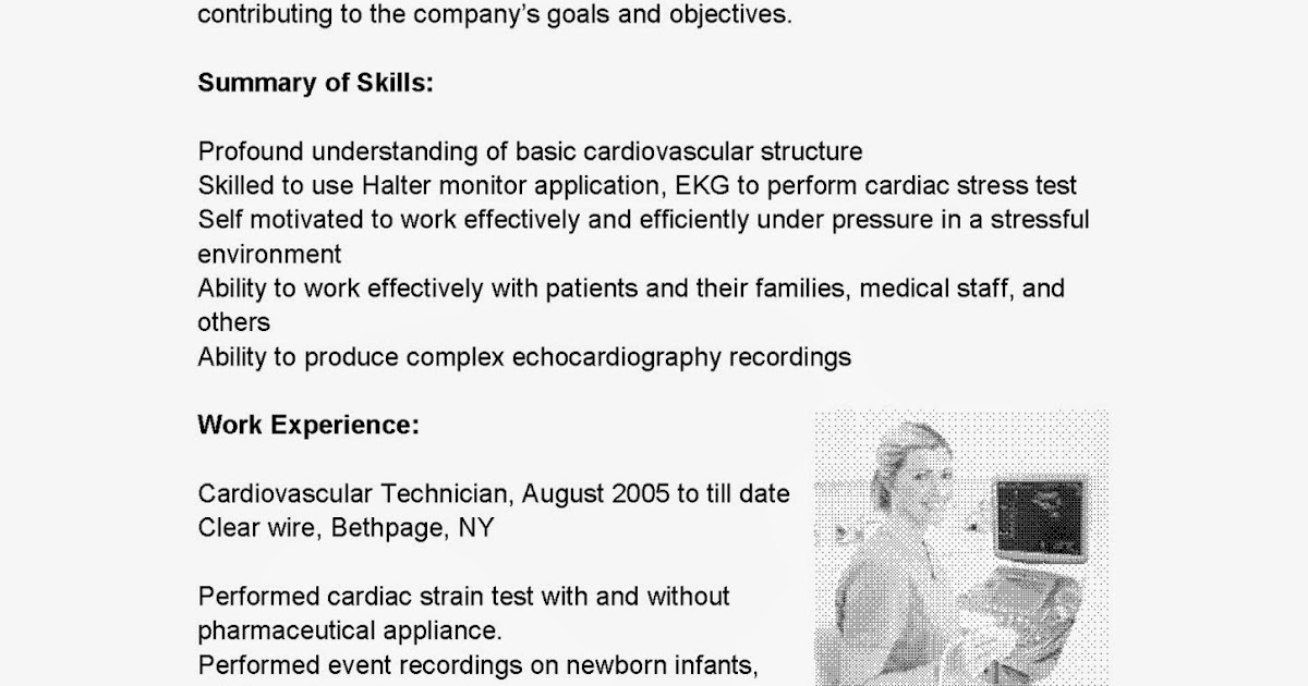 resume samples  cardiovascular technician resume sample