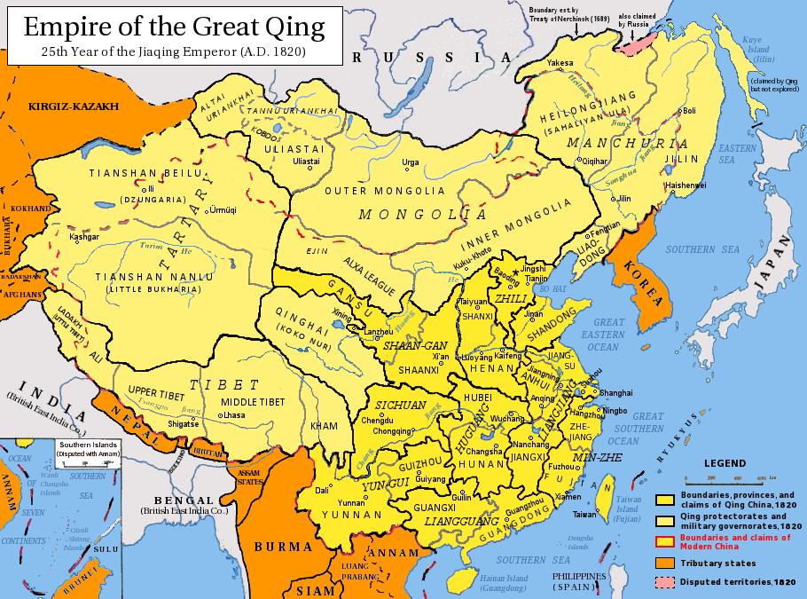 Karte vom gesamten Gebiet Chinas während seiner größten Ausbreitung 1820.