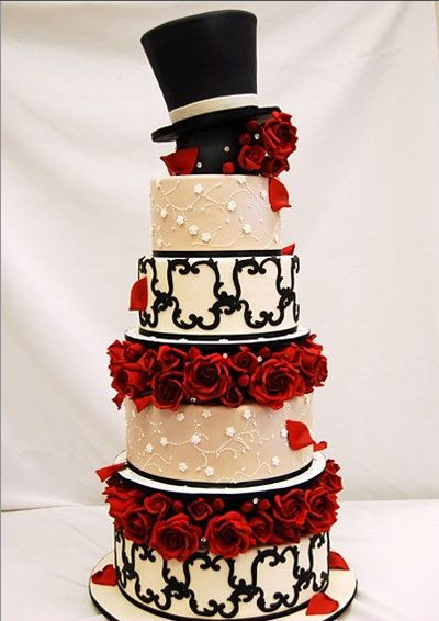 amazing red black and white wedding cakes 27 pic awesome pictures. Black Bedroom Furniture Sets. Home Design Ideas