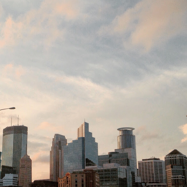 A sunset view of Minneapolis, MN