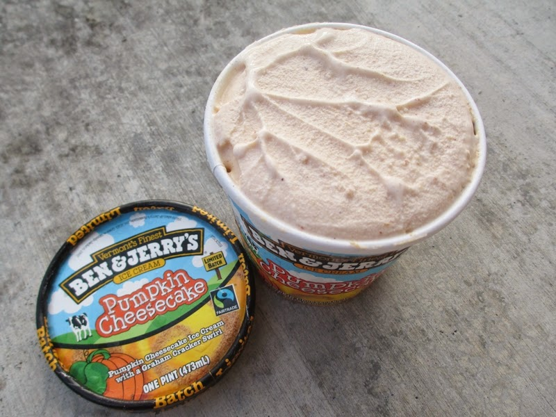 Freshly opened pint of Ben & Jerry's Pumpkin Cheesecake ice cream
