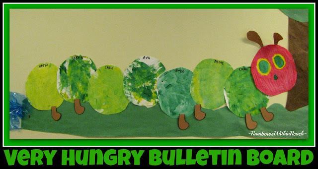 photo of: Individual circles of 'open-ended' paint exploration converted into Very Hungry Caterpillar Bulletin Board (via RainbowsWithinReach)