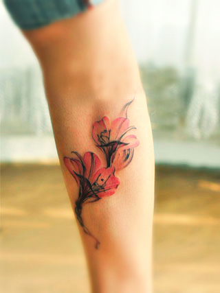 red flower tattoo design