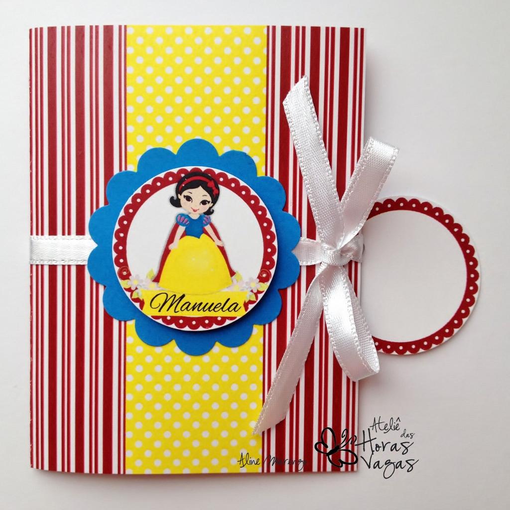 convite artesanal aniversário infantil princesa disney branca de neve vermelho amarelo azul menina