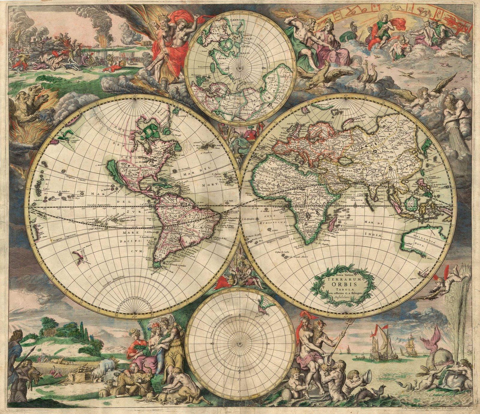 Ancient World Maps: World Map 17th Century
