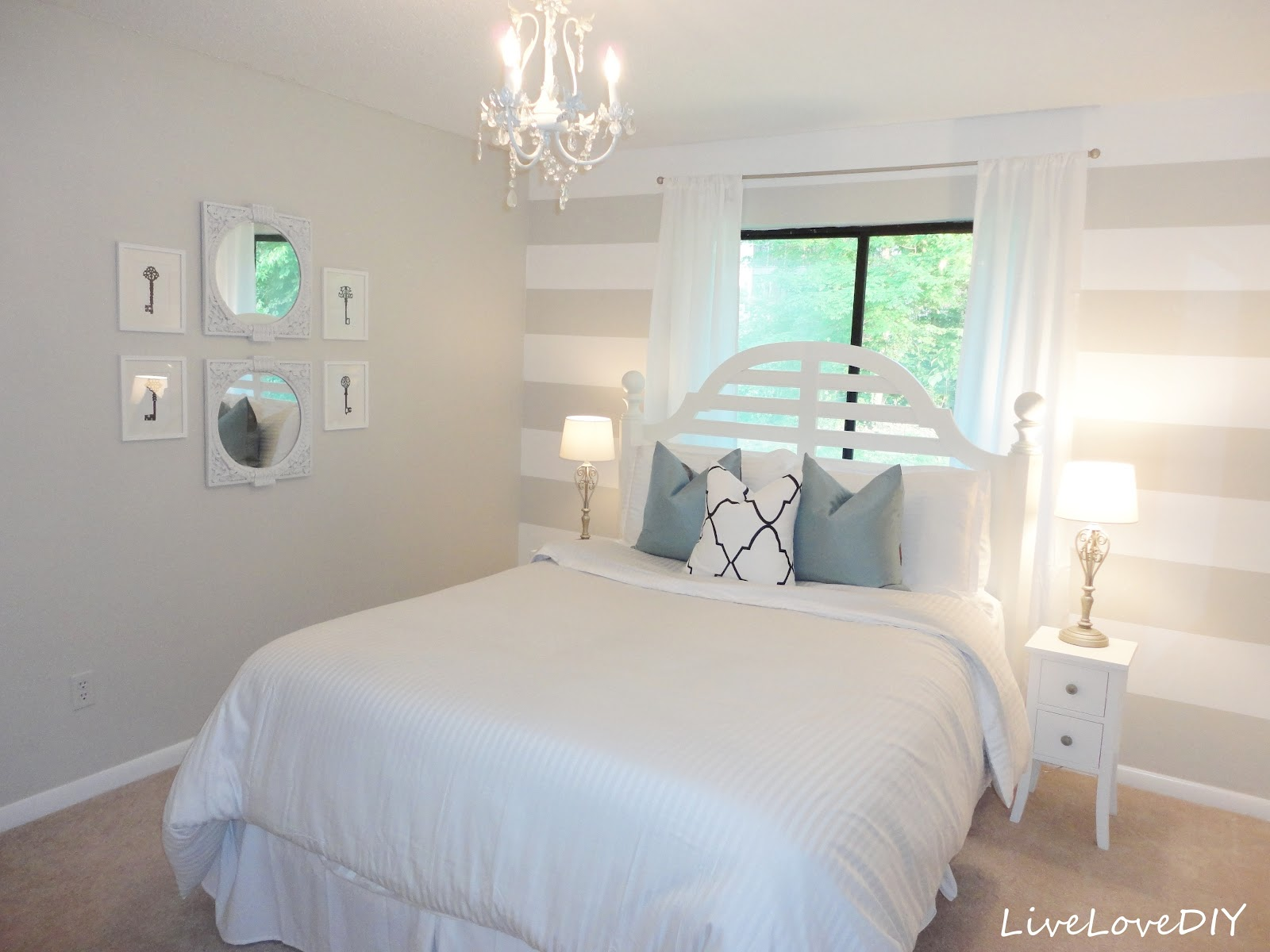 pink and gray striped walls gray white striped guest