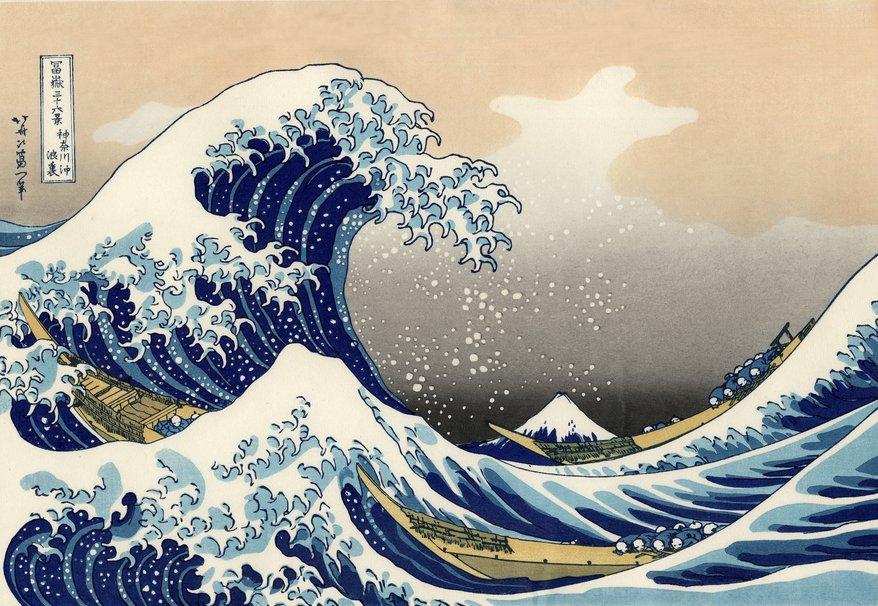 grabado de la gran ola de hokusai