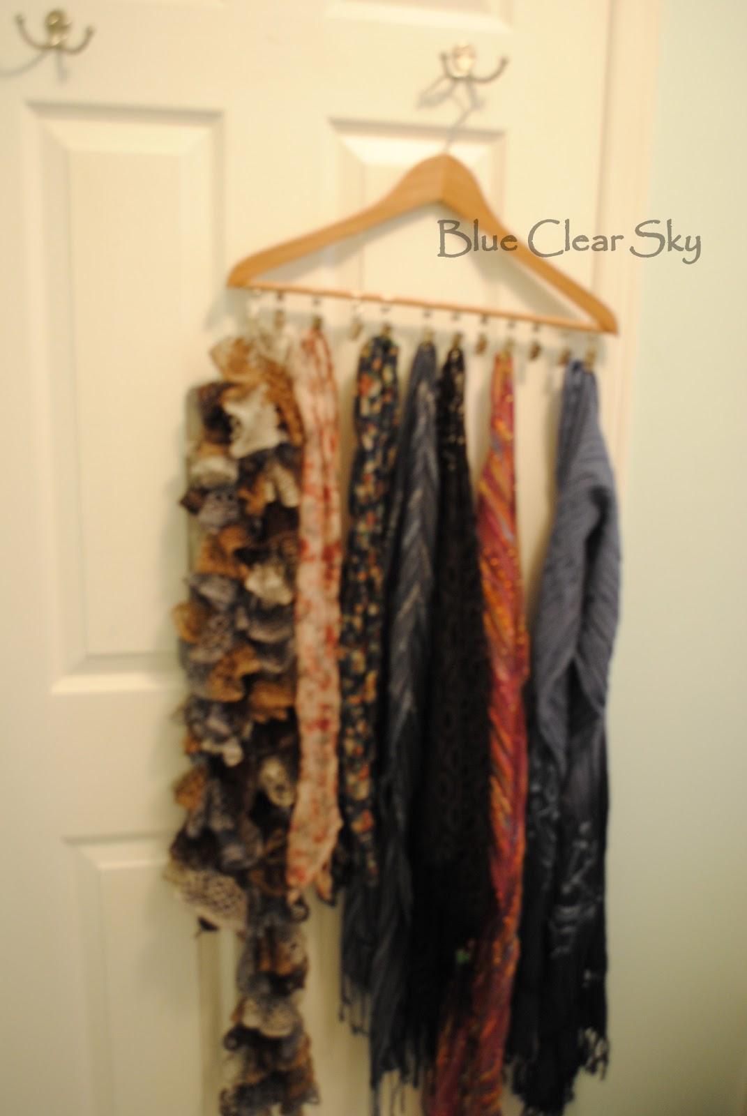 Rustic maple hanger scarf organizer for Scarves hanger ikea