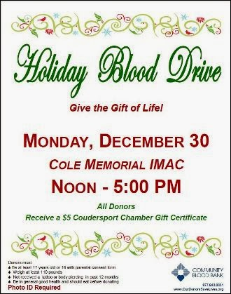 12-30 Holiday Blood Drive at Cole Memorial