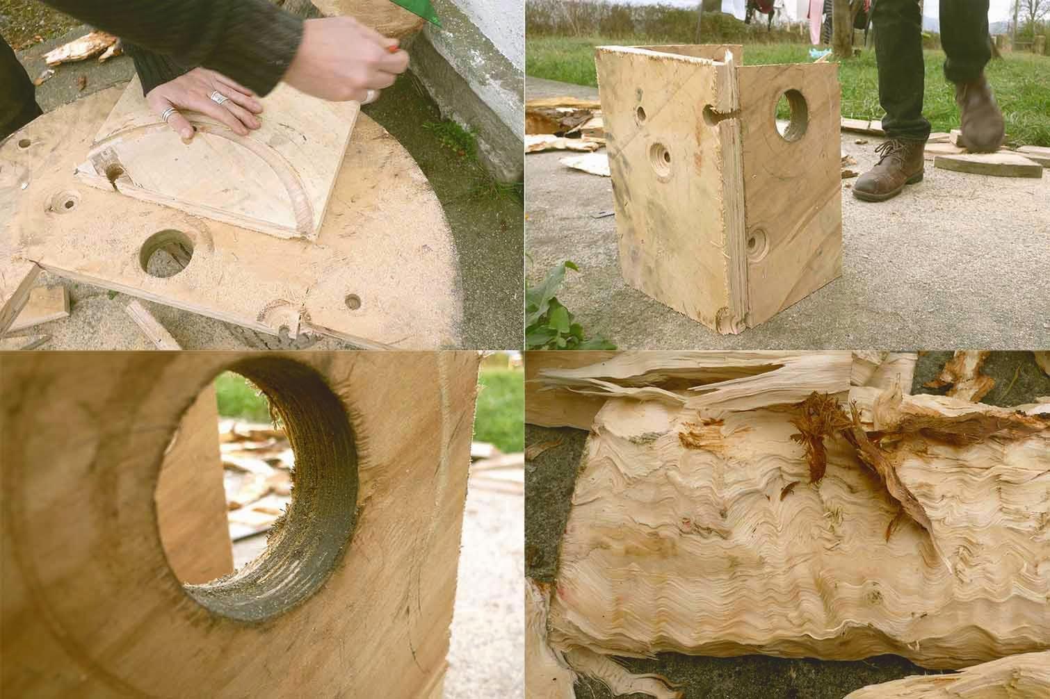 Construyendo caja nido para familia de mochuelos