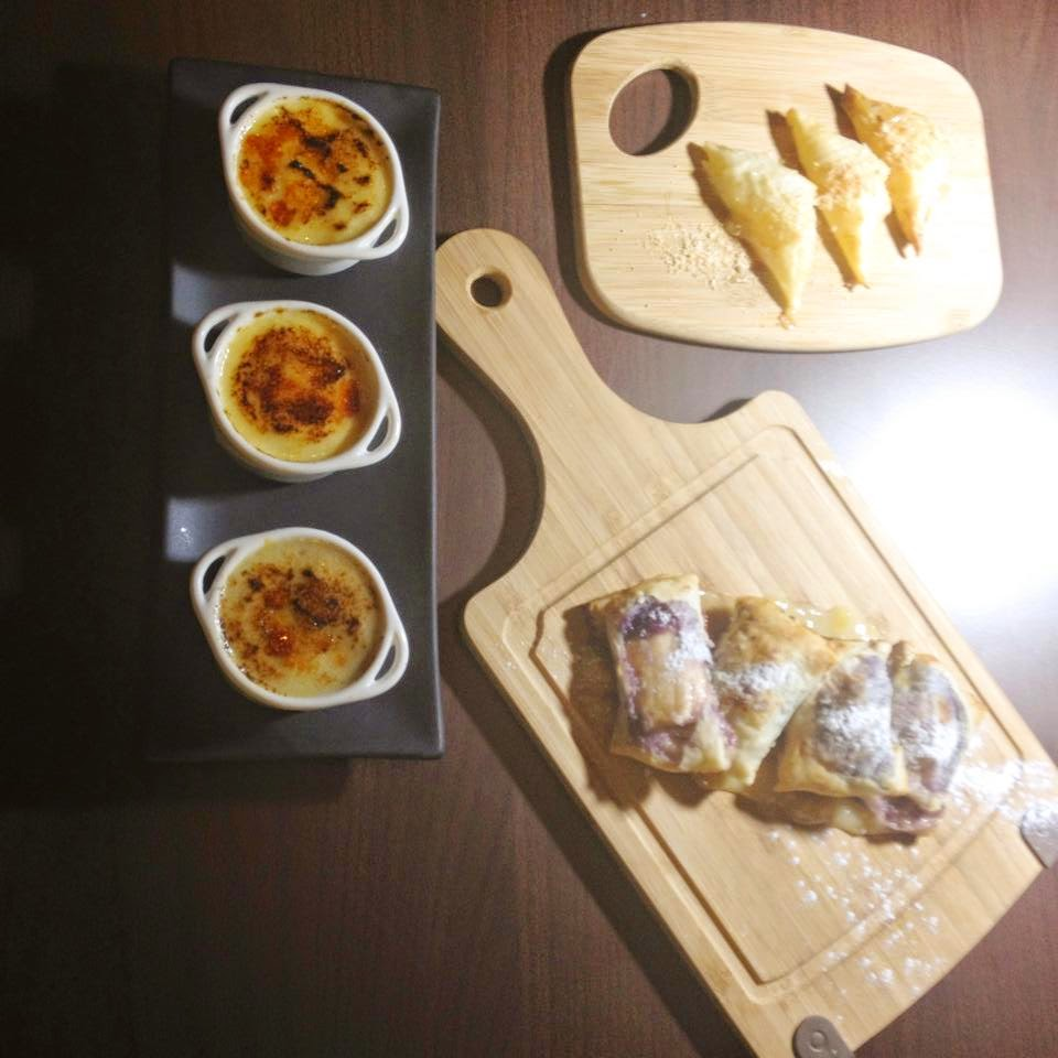 buko pie bites, turon trilogy & creme brûlée  with 3 flavors: classic, banana, & durian