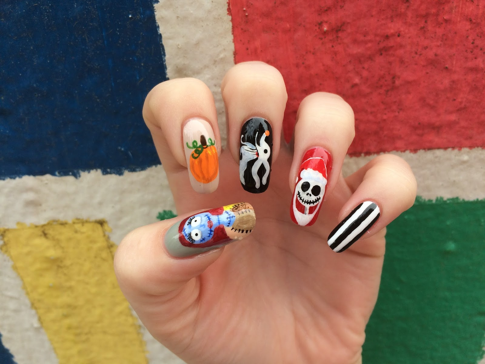 continuing on with the halloween spirit this week i featured nightmare before christmas characters on my nails these were really fun to do