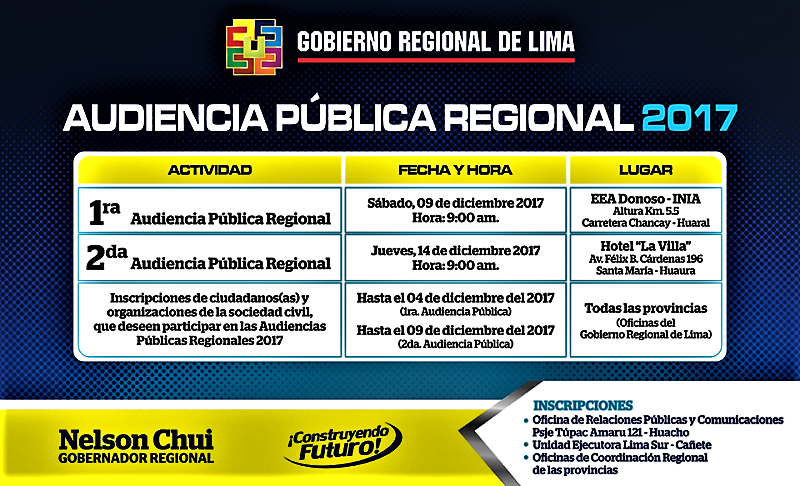 AUDIENCIA PÚBLICA REGIONAL 2017 - CRONOGRAMA