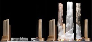 David Mirvish & Frank Gehry: King Street West proposed towers - before & after.