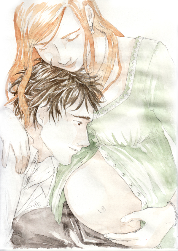 Lily et James Potter attendant Harry - dessin calendrier de tendresses