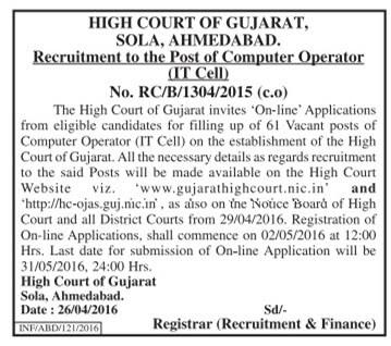 Gujarat High Court Computer Operator Recruitment 2016