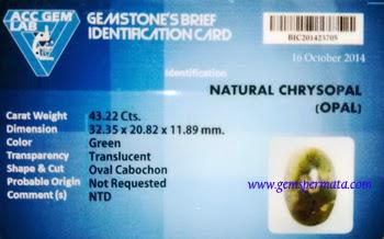 Batu Permata Natural Chrysopal