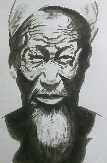 retrato anciano con tinta china