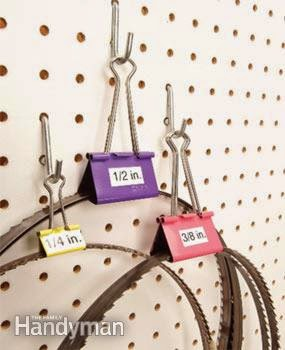 Organized tool parts with binder clips :: OrganizingMadeFun.com