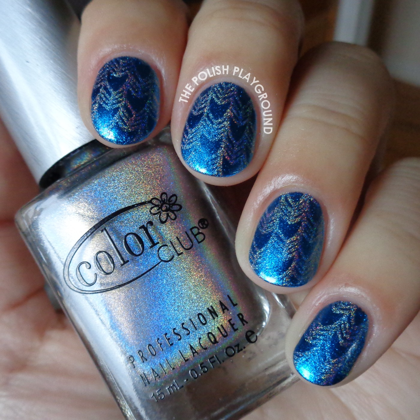 Subtle Blue and Silver Tribal Arrow Print Stamping Nail Art