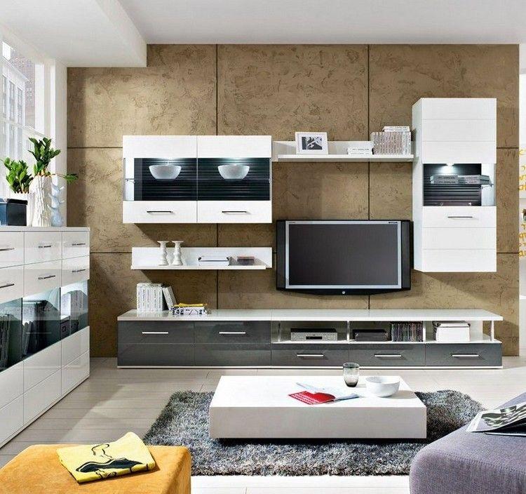 diseño de sala moderna decorada con un sistema de entretenimiento
