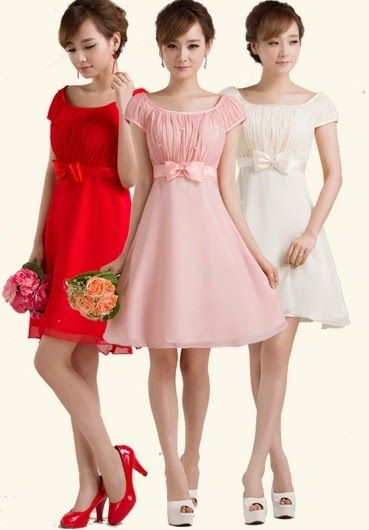 Tri-color Simple Pearl Beaded Bridesmaids Dress