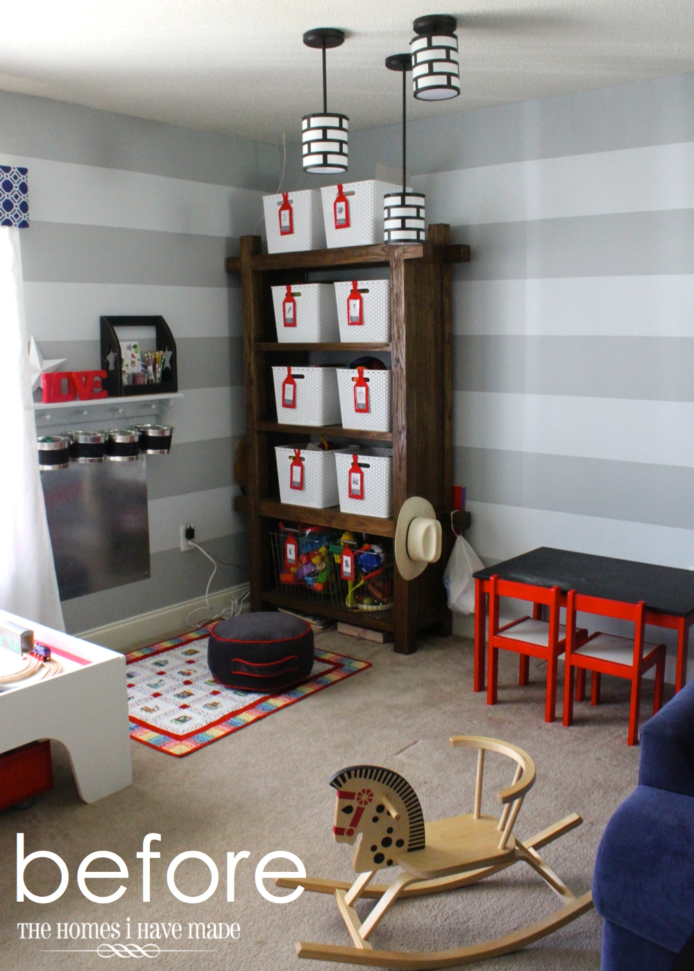 Here is where we startedagain, super-duper cute with the red, grey, and  white color-scheme, but it had to change so I could make the rest of the  room work.