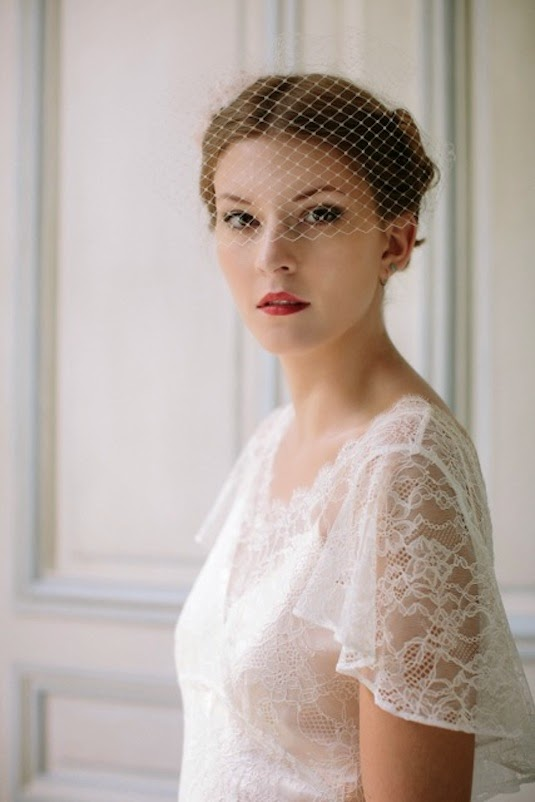 Full face close-up showing Birdcage veil over eyes, with vintage wedding dress 'Angel' - Heavenly Vintage Brides