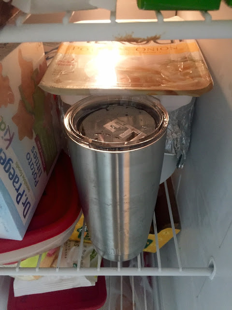 Yeti rambler mug in freezer