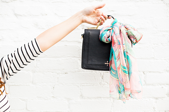 Here&Now: how to tie a scarf on your purse