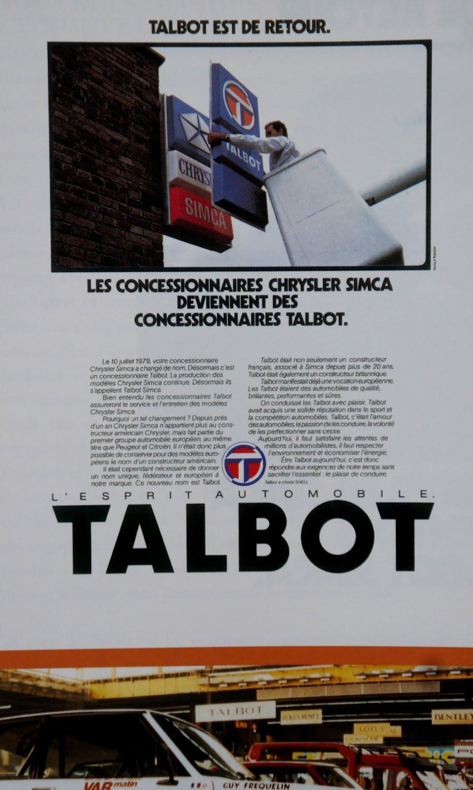 Pub Vintage : Talbot remplace Chrysler