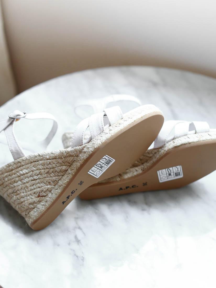 louise paris divines sandales a p c espadrilles compens es blanches neuves taille 36. Black Bedroom Furniture Sets. Home Design Ideas