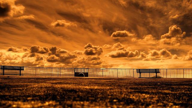 Coast Sunset Park Bench HD Wallpaper