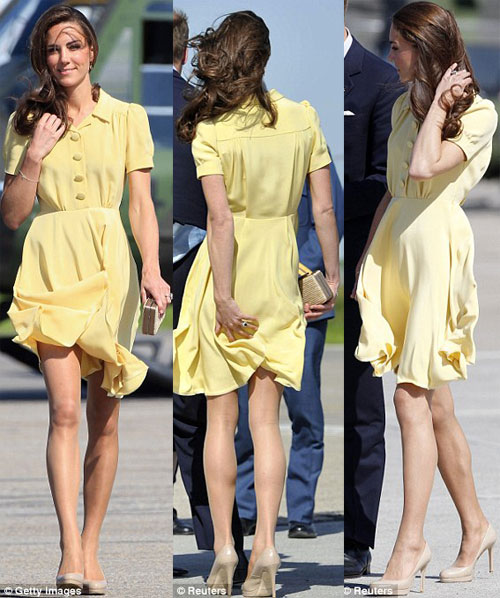 Originally+princess+kate+yellow+short+dress