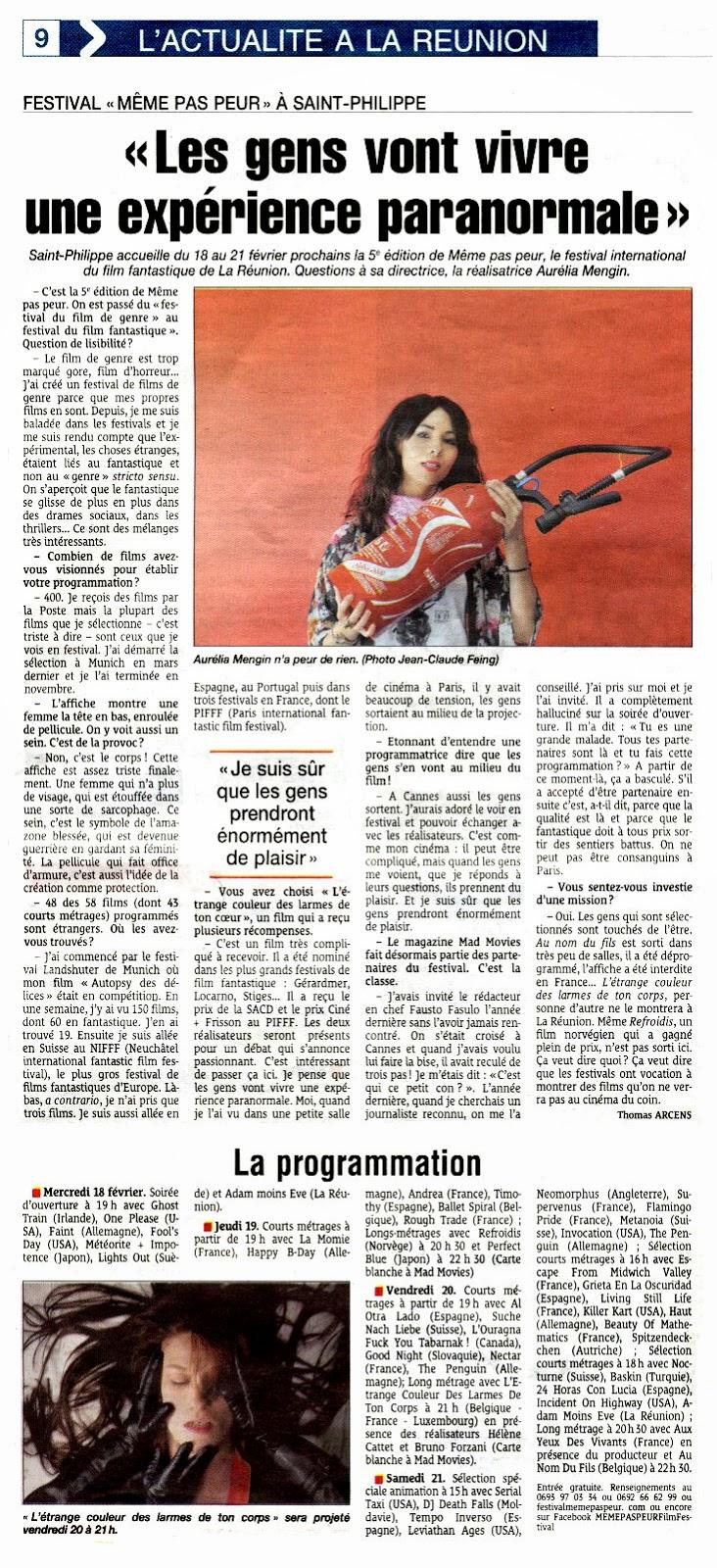 Le Festival MEME PAS PEUR 2015 dans le Quotidien de La Réunion