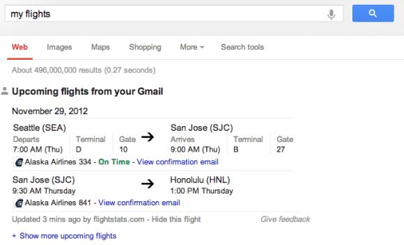 Google Shows Flight **tifications
